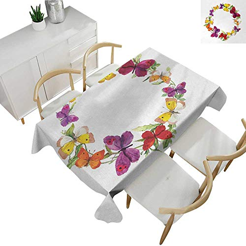Butterfly,Decor Collection Table Cloths Butterfly Corolla with Herbs Nature Protection from Fear Spirit Morph Path Image Party Tablecloth Covers Multicolor 70