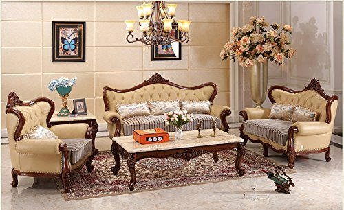 Ma Xiaoying Echtes Leder, Massivholz Buche, Traditionelle Collection Wohnzimmer Möbel Set (Sofa, Liebesschaukel und Stuhl und 2tables), Beige.