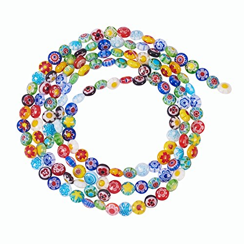NBEADS 5 Strands 6mm Random Mixed Color Handmade Millefiori Lampwork Glass Beads, Abacus Smooth Loose Beads for Bracelet Jewelry Making, 1 Strand ()