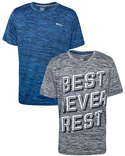 Hind Boys Performance Quick Dry Athletic Sports T-Shirt (2 Pack), Blue Heather/Grey Heather, Size Medium / 10-12'
