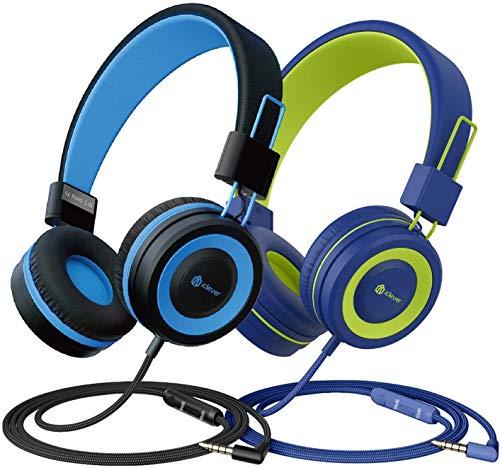 2 Pack Hoofdtelefoon voor kinderen, kabel hoofdtelefoon voor kinderen, verstelbare hoofdband, stereogeluid, opvouwbaar…