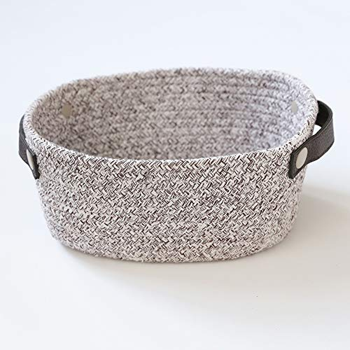 HIGOGOGO Oval Shaped Cotton Rope Nursery Basket, Woven Storage Basket with Leather Handle Toy Bin Container for Plant Baby Diaper Snacks, Grey, 11
