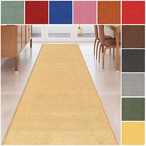 Custom Size BEIGE Solid Plain Rubber Backed Non-Slip Hallway Stair Runner Rug Carpet 22 inch Wide Choose Your Length 22in X 6ft