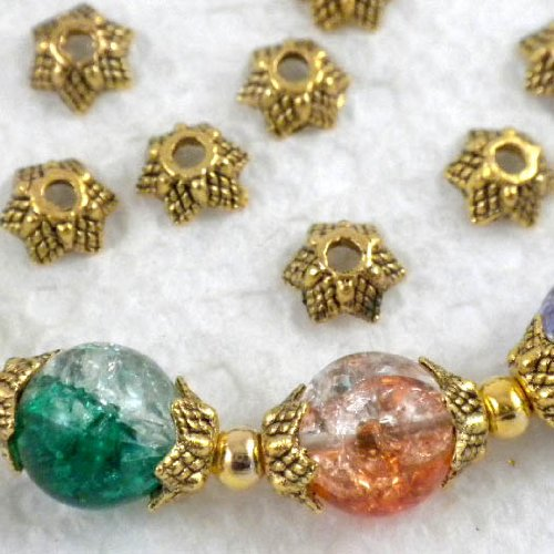 Beading Station 50-Piece Star Shape Metal Bead Caps, 7mm, Antique - Metal Gold Bead Antique