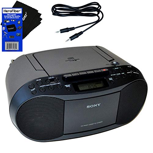 (Sony Compact Portable Stereo Sound System Boombox with MP3 CD Player, Digital Tuner AM/FM Radio, Tape Cassette Recorder, Headphone Output & 3.5mm Audio Auxiliary input Jack)