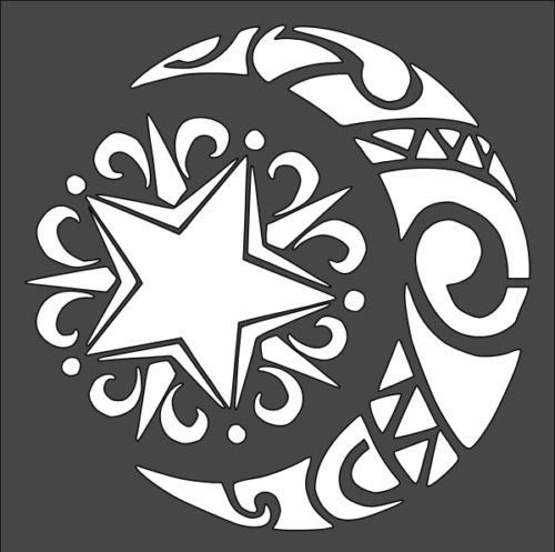 1-5.5x5.5インチ ステンシル ウィッカ マジック 異教徒 星 月 (rs#5)   B07J45Z5NP