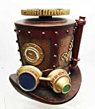 STEAMPUNK MINING MACHINERY HAT JEWELRY BOX RESIN ANTIQUE VINTAGE HANDPAINTED