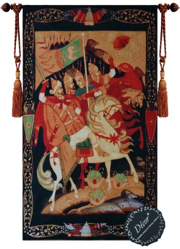 Beautiful Knights of Crusade Fine Tapestry Jacquard Woven Wall Hanging Art Decor
