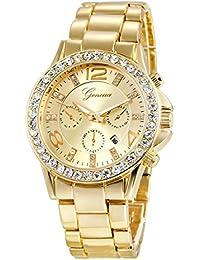 Jechin Men's Gold Watches Diamond Dial Analog Quartz Wrist Watch Gold-Tone Stainless Steel Bracelet (Gold White)