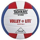 Tachikara Volley-Lite Micro-Fiber Composite Leather Volleyball, Scarlet/White/Blue