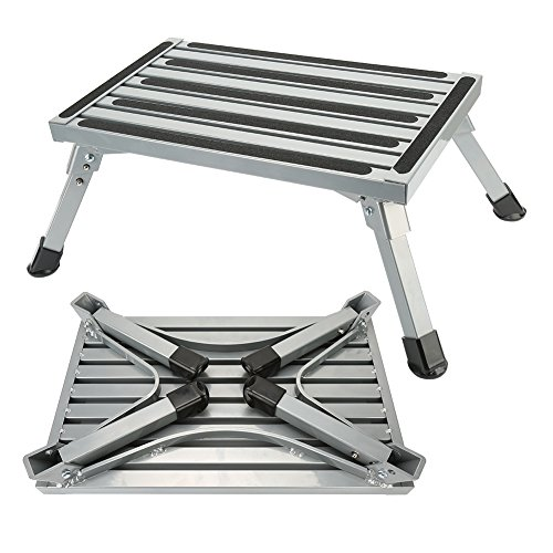RV Step Platform Folding Aluminum Trailer Step Stool with Anti-slip Surface Sturdy Lightweight Maximum Load is 550 LB Perfect as RV Motorhome Trailer SUV Camper Extra Step by NORDSD