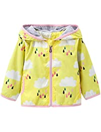 4ba28fa53b2d Kids Baby Girls Rain Cloud Print Windproof Hooded Coats Lightweight Active  Outdoor Jackets