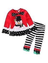 SUPEYA Toddler Baby Girls Christmas Santa Print Long Sleeve Shirt Pants Outfit Set