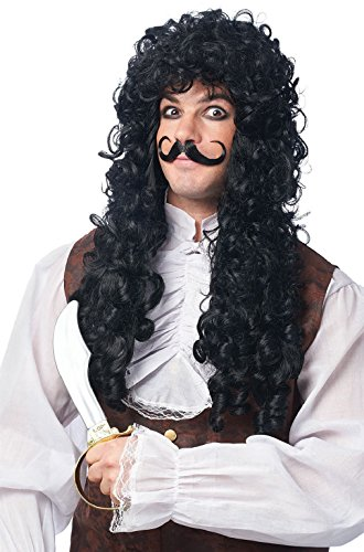 OvedcRay Adult Male Mens Black Long Curly Pirate Captain Hook Costume Wig W/ Moustache -