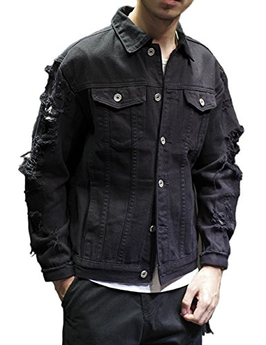 DSDZ Fashion Men's Motorcycle Vintage Ripped Denim Trucker Jean Jacket Black US M(Tag 2XL) by DSDZ