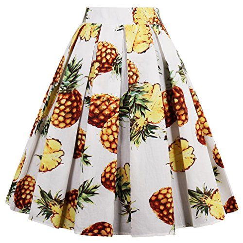 (T-Crossworld Women's Vintage Floral A Line Skirt Pockets Pleated Midi Skirt with Pockets Pineapple XLarge)