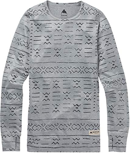 Burton Women's Midweight Crew Top, Medium, Grayscl Bogolanfini