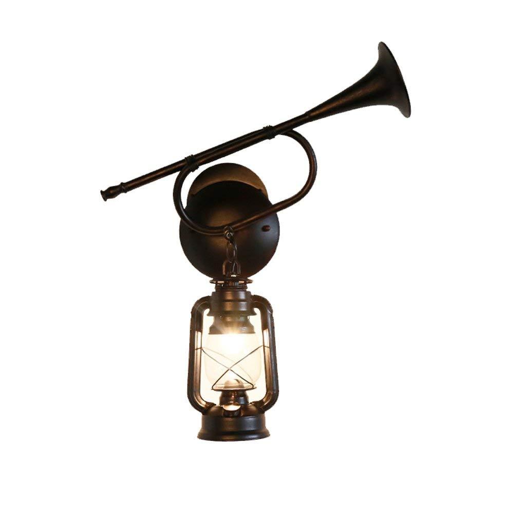 Altoparlante a parete lampada, retrò villaggio americano creativa Ristorante Ferro Antico Corridoio Classic lampada di kerosane Lantern E27 Facile da pulire (colore   Single)