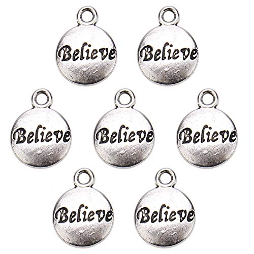 JETEHO 80pcs Antique Silver Circle Round Believe Word Charm Message Inspiration Charm - Message Believe Bead