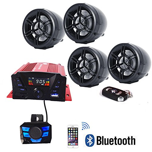 4 Channels UTV ATV Anti-Theft Bluetooth Amplifier Sound System Hand-free Speakers FM USB Audio System Stereo Remote Control Anti-Theft Police Guard-Alarm 4X 3 Inch Speakers