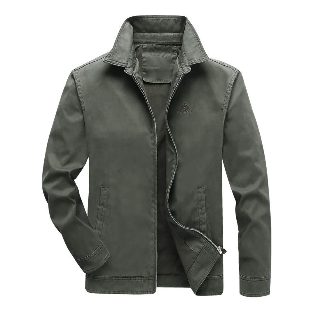 LENXH Men's Jacket Solid Color Jacket Simple Jacket England Top Zipper Jacket Breathable Windbreaker Army Green by LENXH_Clothing