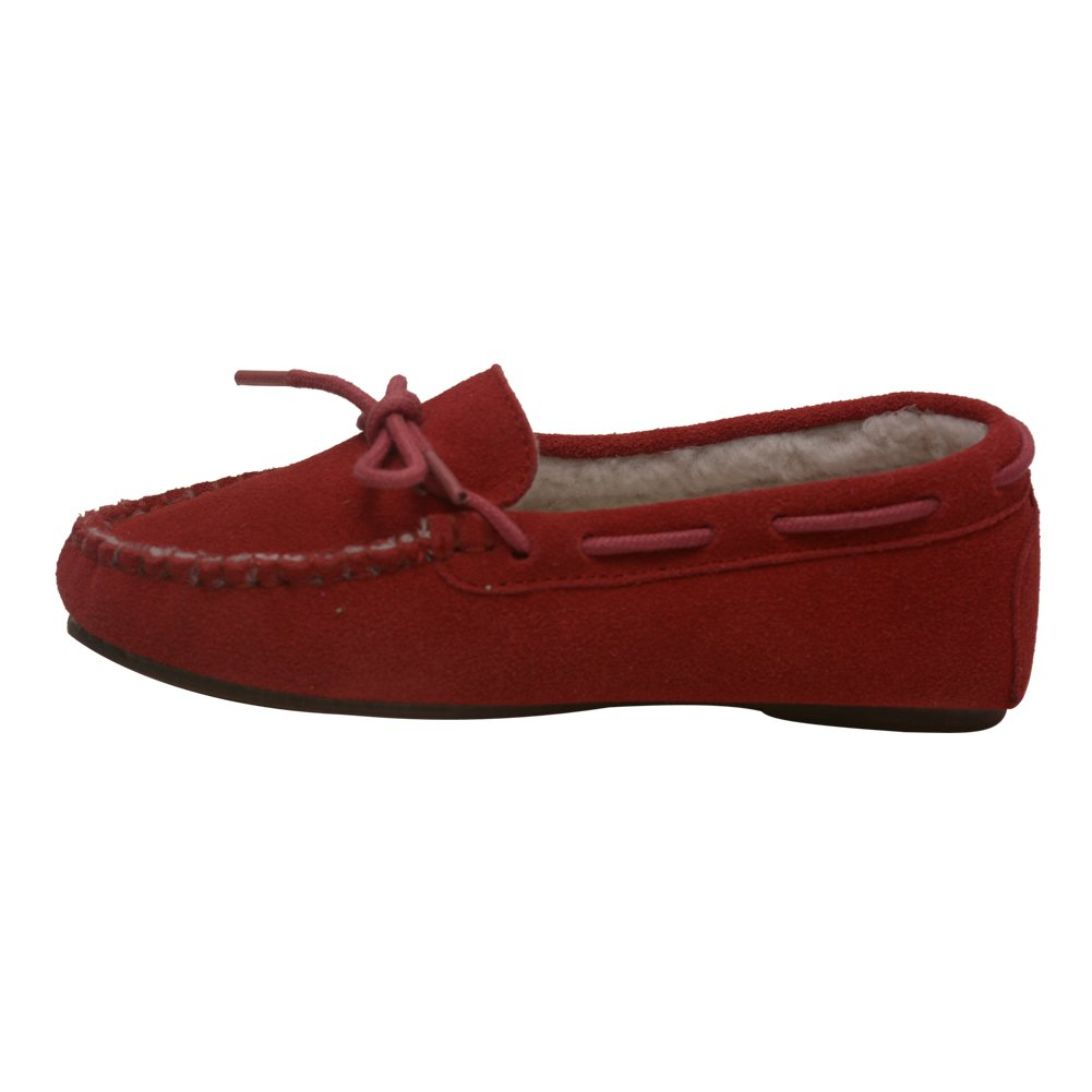 LAmour Girls Red Suede Moc Toe Stitch Bow Detail Loafers 11-4 Kids