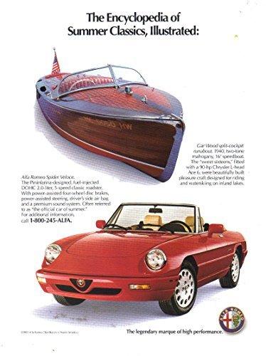 (Vintage Print Ad: 1991 Alfa Romeo Spider Veloce Roadster, Pininfarina 2.0 L, Gar Wood split-cockpit Runabout