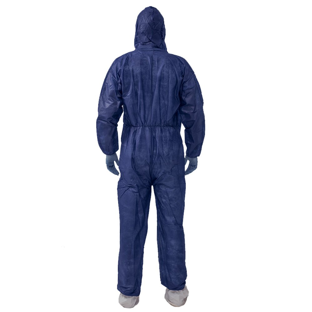 5 Pack Polypropylene PP Disposable Hooded Coveralls Light Duty Suit with Elastic Cuff Ankle and Waist (Large, Dark Blue) by Vicogard (Image #3)