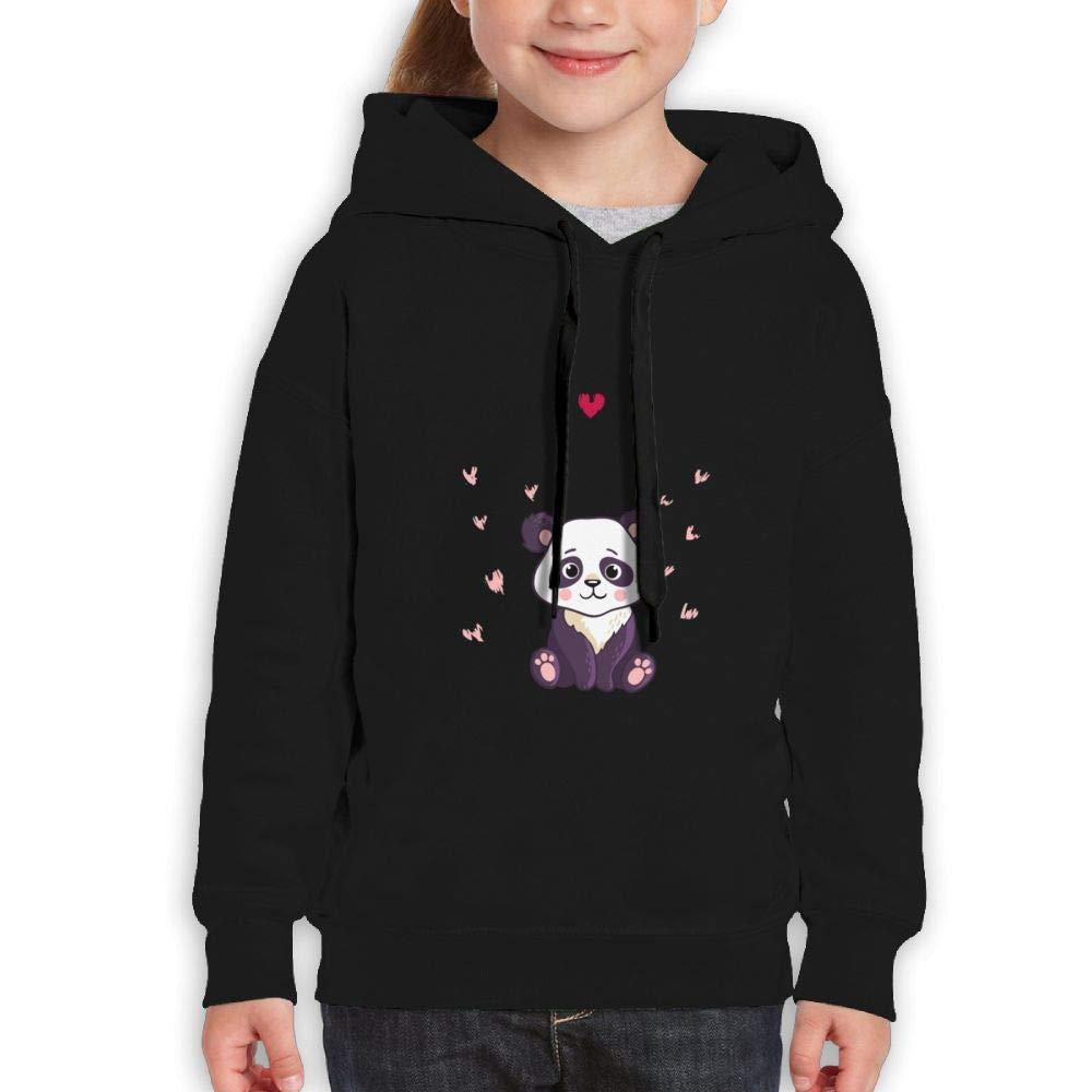 Qiop Nee Cute Panda Baby with Heart Youth Hooded Print Long Sleeve Sweatshirts for Girls