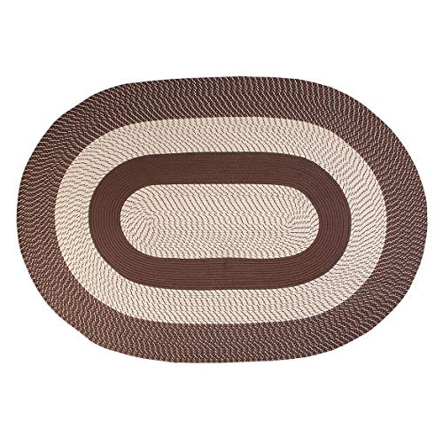 OakRidge Miles Kimball Two-Tone Classic Country Braided Rug, Multiple Size Options - Tightly Woven Braids in Oval Rug of Durable Olefin Material, Same Color Design on Both Sides of Reversible Rug