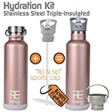 Rehydrate-Pro-Double-Wall-Insulate-Stainless-Steel-Water-Vacuum-Bottle-Flask-Compatible-to-Swell-Yeti-Hydro-and-Klean-Kanteen-for-Hot-or-Cold-Drinks-BPA-Free-25-Oz-Bonus-Flip-N-Sip-Sports-Cap-Included
