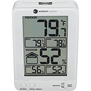 Ambient Weather WS-2063-W-P Indoor Temperature and Humidity Monitor with Probe and Backlight
