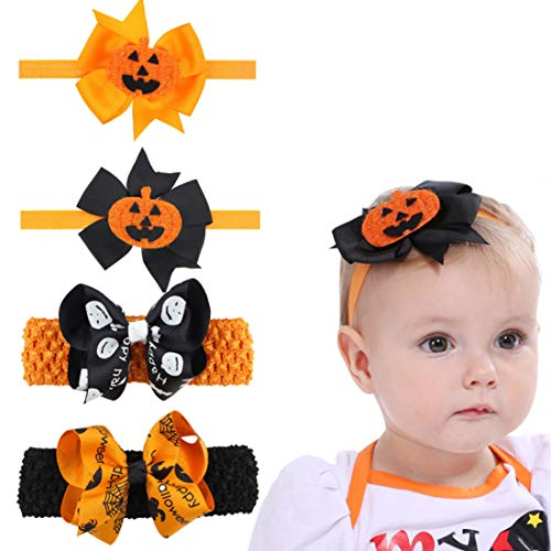 Diy Halloween Hair Bows (4 Pack Halloween Headband, 2 Pumpkin Costume Elastic Hair Bow and 2 Bowknot Elastic Hair Band Fits for Baby Toddler Girls Newborn and)