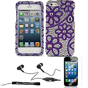 Purple Flower Rhinestones Full Diamond Back Cover for Apple iPhone 5 iOS (6) Smart Phone + Includes a Crystal Clear High Quality HD Noise Filter Ear buds Earphones Headphones ( 3.5mm Jack ) + Includes an eBigValue (TM) Determination Hand Strap Keychain