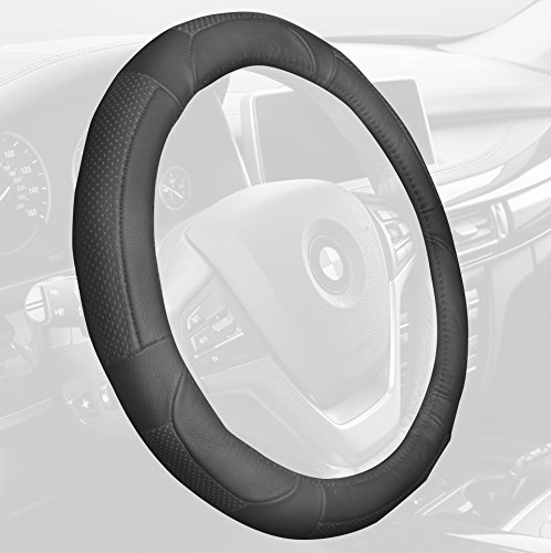 FH Group FH2002SOLIDGRAY Steering Wheel Cover (Deluxe Full Grain Authentic Leather Solid Gray) (Chrysler Sebring Wheel 2000)