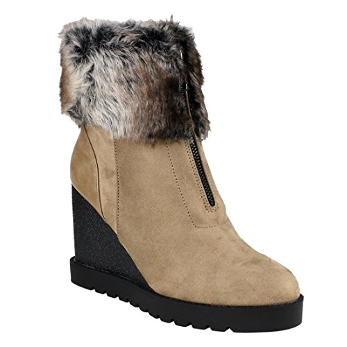 Wedge Fur Boots - 5