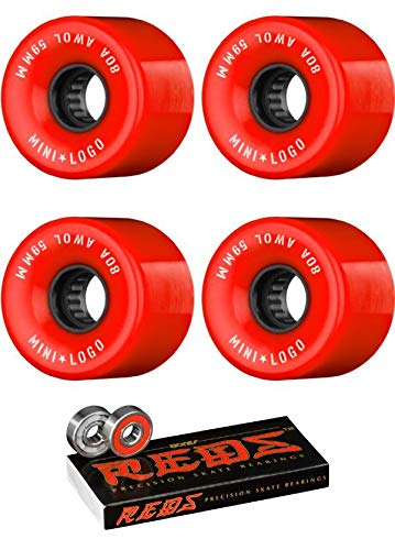 (Mini Logo 59mm ATF A.W.O.L Red Skateboard Wheels - 80a with Bones Bearings - 8mm Bones Reds Precision Skate Rated Skateboard Bearings (8) Pack - Bundle of 2)