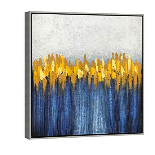 Wieco Art AB1127-6060-SF - Cuadro de pintura al oleo sobre lienzo, diseno moderno 100% pintado a mano con marco plateado