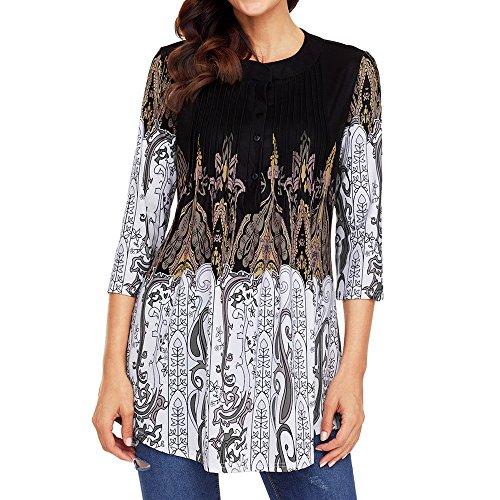 (Elegant Blouse for Women Plus Size, Ladies Boho Printed 3/4 Sleeve Tunic Summer Casual T-Shirt Long Tops)