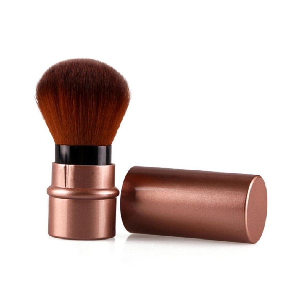 Happy Hours - Portable Retractable Makeup Brush / Soft Nylon Hair Professional Kabuki Foundation Face Powder Cosmetic Brushes for Women(Brown)