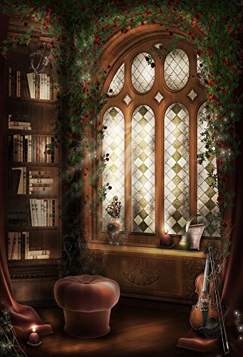 Baocicco Magic Library Interior Blackboard Backdrop 5x7ft Photography Background Reading Room Bookshelf Arched Window Magician Indoor Light Luxury Home Fortune Teller College]()