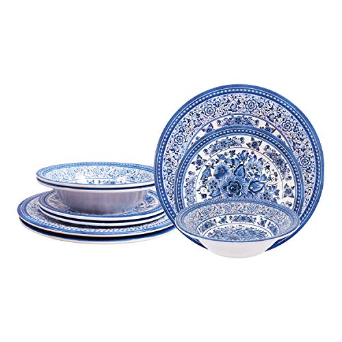 First Design Global Decorative Antique Floral 12 Piece Melamine Dinnerware, Unique Dish Set for Parties or Everyday Use, Service for 4