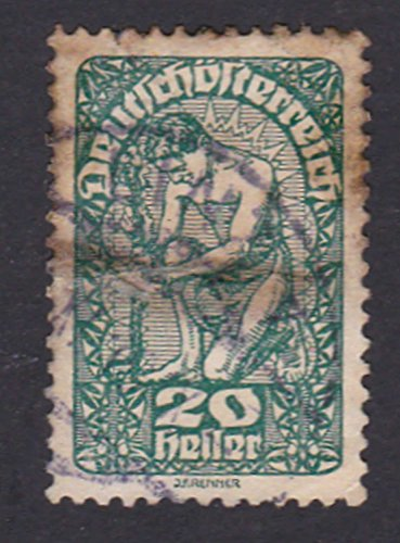 Republic of German Austria 20 heller Postage Stamp