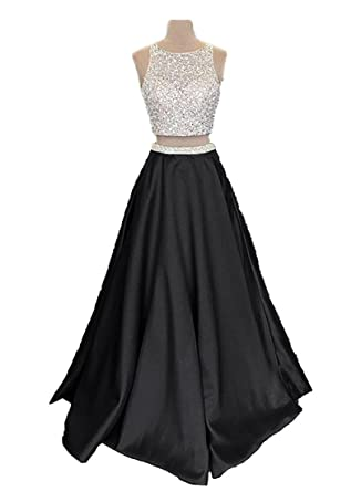 Callmelady Satin Two Piece Prom Dresses Long 2018 with Pockets for Women (Black, US0