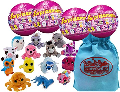 Surprizamals Series 8 Stuffed Animals Surprise Mystery Plush in a Ball Gift Set Party Bundle with Exclusive Matty's Toy Stop Storage Bag - 4 Pack -