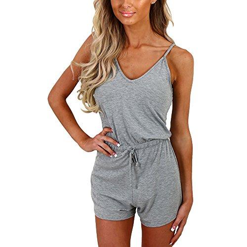 (Dreamskull Women Summer Casual Spaghetti Strap Adjustable Waist Drawstring Short Jumpsuit Solid Cami Romper for Girl (L,)