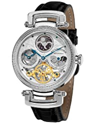 Stuhrling Original Men's 353A.33152 Special Reserve Emperor Magistrate Automatic Skeleton Dual Time Zone Silver Tone Watch.