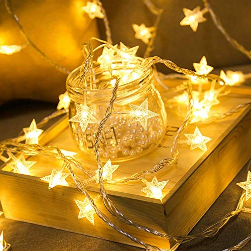Litcher Star String Lights, Battery-Powered Star Lights, 19.7FT 40 LED String Lights Ideal for Rooms, Holiday, Christmas, Birthday, Party, Weatherproof for Indoor and Outdoor, Warm White