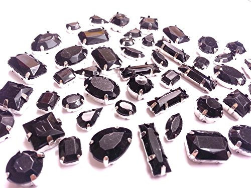 - CraftbuddyUS 50 pcs Black Montees Acrylic Sew on Faceted Crystals,Rhinestones,Diamantes, Dre