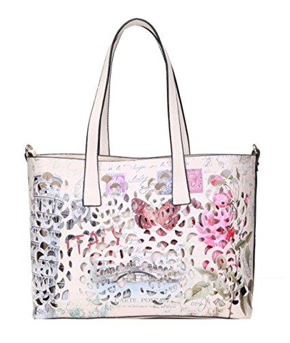 Rome Handbag Laser Cut London Top Womens White Rice Bag HandBags Paris Handle Girly Vintage Faux Leather qORPwP0a